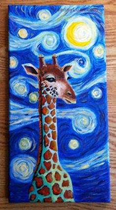 Original NFAC Giraffe moon star acrylic painting by Jenny Lua Giraffe Painting, Van Gogh Paintings, Canvas Art, Canvas Ideas, Art Classroom, Artist Painting, Art Studios, Painting Inspiration, Art For Kids
