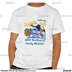 Customize these shirts for your family or company reunion. Add name and year of the event for a fun keepsake! -- Personalize it…..a fun keepsake from your summer gathering! Add your family surname or personalize each shirt with your a first name of your family member! Beach Party #FamilyReunion T Shirts are available in a variety of colors and styles for the whole family: T-shirts, Tank Tops, Hoodie and more! #Gravityx9 #Zazzle