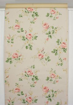 1950's Vintage Wallpaper Peachy Pink Roses with by RosiesWallpaper