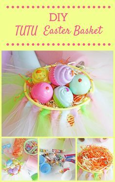 A DIY tulle tutu basket is a fun and unique idea for a girls' Easter basket! Every little princess will love this over the top, girly girl basket. Covered in pastel tulle and coordinating pastel Easter eggs. I couldn't pass up the adorable dessert shop eggs that were already pre-filled with Easter treats! Fill the baskets with colorful Easter grass and top with your little ones favorite Easter candy, plush character and/or Easter toys.