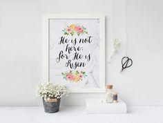 He Is Not Here For He Is Risen Print » 4x6 5x7 8x10 11x14 » Matthew 28:6 » Easter Print » Marble Art » Christian Wall Art » Digital Print
