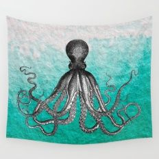 Antique Nautical Steampunk Octopus Vintage Kraken sea monster ombre turquoise blue pastel watercolor Wall Tapestry