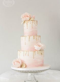 Gorgeous Blush and Gold dripping wedding cake