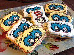 Dr. Seuss cookies. Thing1 Thing2 cookies. OneSweetTreat.com