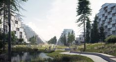 EFFEKT proposes Bratislava housing scheme modelled on a mountain range Water Architecture, Types Of Architecture, Architecture Visualization, Modern Architecture, Bratislava, Urban Design Concept, Public Space Design, Sport Park, Urban Agriculture