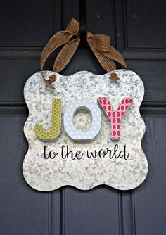 DIY JOY to the World Home Decor Sign by designer Summer Fullerton featuring Jillibean Soup Mix the Media Galvanized Surface