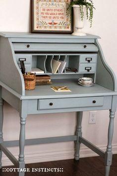 Desk Makeover, Furniture Makeover, Repurposed Furniture, Painted Furniture, Dining Furniture, City Furniture, Stain Furniture, Office Furniture, Small Roll Top Desk