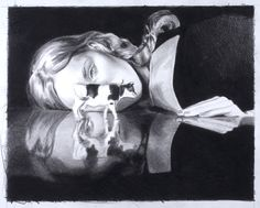 Cow with Reflection - 2008 - Black Pencil on paper by MERCEDES HELNWEIN