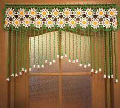 """Crochet curtain at the doorway Camomiles crocheted by UytniidomikKéptalálat a következőre: """"crochet curtain""""Items similar to Bead and String Rainbow Curtain on Etsy Crochet Curtain Pattern, Crochet Curtains, Curtain Patterns, Crochet Doilies, Crochet Flowers, Crochet Patterns, Curtain Ideas, Filet Crochet, Rainbow Curtains"""