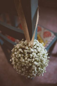 Gypsophila flower girl pomander used here as wedding chair back tied with our hessian ribbon #theweddingomd #hessian #ribbon.