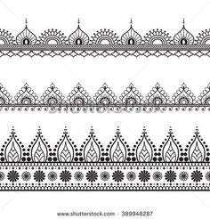 stock-vector-border-elements-in-indian-mehndi-style-for-card-or-tattoo-vector-illustration-isolated-on-white-389948287.jpg (450×470) #LampIllustration