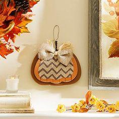 Brown Burlap & Chevron Pumpkin Plaque