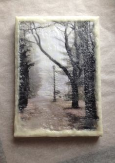 Photo Encaustic, Fine Art Photography, Wax Encaustic, Mixed Media, Original Art, B&W  L'hiver series. ©Megan Carroll