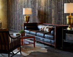 archetype wood banded sofa leather baker furniture archetype furniture