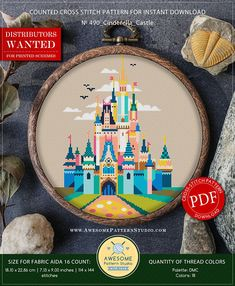 This is modern cross-stitch pattern of Cinderella Castle for instant download. A cool tip to decorate a kids room.  You will get a PDF file, which includes: - main picture for your reference; - colorful scheme for cross-stitch; - list of DMC thread colors (instruction and key
