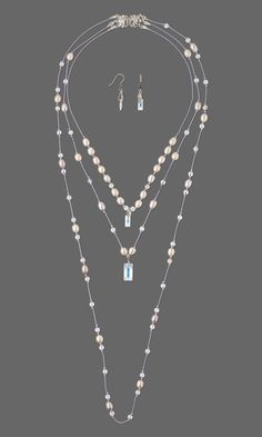 Jewelry Design - Triple-Strand Necklace and Earring Set with Swarovski® Crystals, White Lotus™ Cultured Freshwater Pearls and Silk Thread - Fire Mountain Gems and Beads