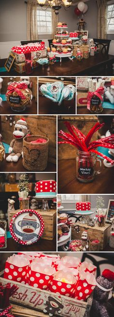 Sock Monkey Themed First Birthday Party #1stbirthday #sockmonkey #birthdayparty http://www.nataltonest.com/
