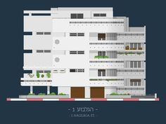 Avner Gicelter's great project on Israeli buildings. Illustration of a building on Hagilboa St. in Tel Aviv