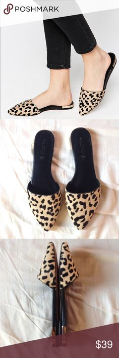 On trend ALDO flat mules On trend Aldo flat mules. Signs of minor wear/tear  on the inside and front. It's size 8.5 but can fit 7.5 Aldo Shoes Mules & Clogs