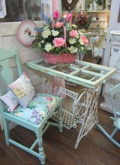 Shabby Chic White Wrought Iron Table w Shabby Six-Pane Window
