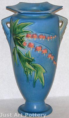 Roseville Pottery Bleeding Heart Blue Vase 974-12 from Just Art Pottery