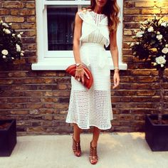Self Portrait eyelet white dress | frills | bottega Veneta clutch bag | jimmy choo heels | baroque pearl jewellery