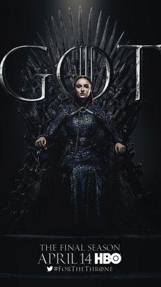 Sansa Stark GoT Game of Thrones poster for HBO final season 8 premiere Jaime Lannister, Cersei Lannister, Daenerys Targaryen, Sansa Stark, Bran Stark, John Snow, Fan Service, Winter Is Here, Winter Is Coming