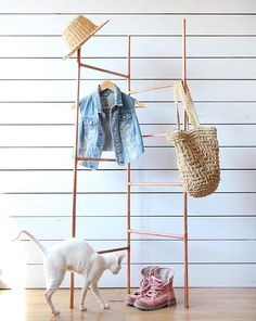 Handmade industrial copper rose gold tone clothes double frame rack minimalist i Diy Clothes Rack, Clothes Rail, Clothing Racks, Copper Rose, Rose Gold, Ladder Stands, Double Frame, Simple Furniture, Minimalist Interior