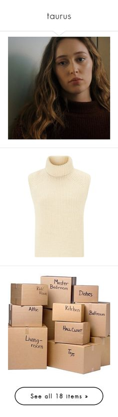 """""""taurus"""" by dem93 ❤ liked on Polyvore featuring tops, sweaters, shirts, sleeveless turtleneck, sleeveless turtleneck shirt, wool turtleneck sweater, wool shirt, cream sweater, fillers and misc"""