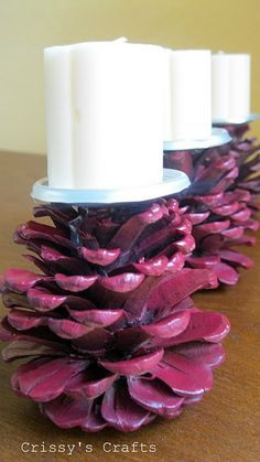 Love this idea!  So easy and very cute.  Pinecone + bottom of a tin can + spray paint + hot glue. very easy & cute!