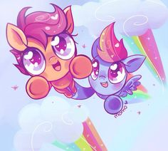 Scootaloo and rainbow dash :D
