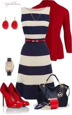 the fit and flare of the dress, the bright blazer and matching shoes - classy!