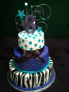 www.rachelreesecakeboutique.com Purple and teal Zebra cake - 3 tier purple, teal and zebra print cake for some little girls turning 8. Original design by ImagineThatCakes, with a few adjustments to accommodate 3 different little girls favorite colors.  All covered in buttercream with Fondant zebra stripes, fondant teal dots and gumpaste 8 and stars.  Pearl candy sprinkles and cloth bow.