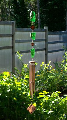 Wind Chime Green Glass Copper Outdoor Large Windchime