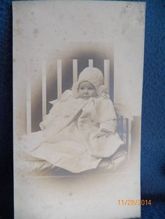 Antique Vintage Photo Precious Expression Bundled Baby in Chair