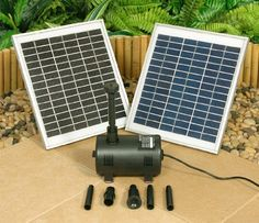 1550lph Solar Fountain / Water Feature Pump by The Outdoor Shop. $249.95. Already have a water feature? The solar powered water pump kit can be used to replace an existing pump of an old water feature, or convert from mains power to solar.. Even if there is a power outlet near the pond, solar power is the smart and safe way to go in this age of rising energy prices and global warming. Perfect for those water gardeners wanting a green solution.. Adding a solar powered pump to y...