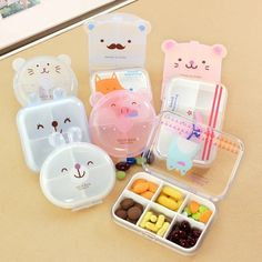 image Lunch Box Containers, Storage Containers, Storage Boxes, Recipe Organization, Storage Organization, Box Kawaii, Kawaii Stuff, Vitamin Tablets, Pill Organizer