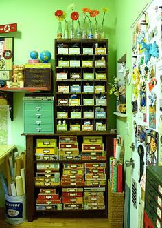 love the cigar boxes for storage -- so colorful!!!  Studio Shots | Just Something I Made