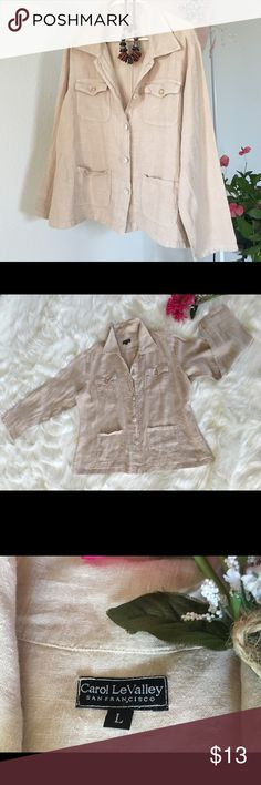 🌿Carol Le Valley 🌿Size L Linen Top 🌿Gorgeous button down linen top with pockets. Perfect with jeans or a skirt 🌿 Carol Le Valley Tops Blouses