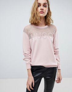 HUGO SIGNATURE SWEATER WITH LACE PANEL - PINK. #hugo #cloth #