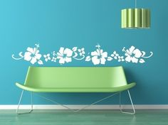 Hibiscus Floral Beach Border Vinyl Decal Graphics against a blue (matching blue, of course) background