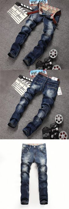 Street zone jeans male summer influx of denim pants feet male Korean cotton casual straight jeans Slim influx of men people jean