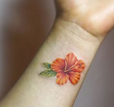 50 Gorgeous Small Wrist Tattoos To Always Flaunt Tropical Flower Tattoos, Flower Wrist Tattoos, Flower Tattoo Back, Small Flower Tattoos, Flower Sleeve, Ankle Tattoo Small, Small Wrist Tattoos, Ankle Tattoos, Tiny Tattoo