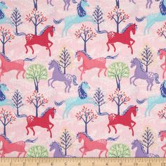 Timeless Treasures Metallic Ponies Pink  from @fabricdotcom  Designed for Timeless Treasures, this cotton print fabric is perfect for quilting, apparel and home decor accents. Colors include  shades of pink, purple, melon, white, and silver metallic accents.