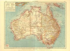 Vintage Map of Australia  1922 Antique by CarambasVintage on Etsy, $38.00