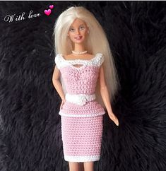 Ravelry: Barbie Pretty in pink pattern by Handmade by Ann Barbie Knitting Patterns, Barbie Clothes Patterns, Dress Patterns, Crochet Doll Dress, Crochet Barbie Clothes, Mermaid Dress Pattern, Pretty In Pink, Accessoires Barbie, American Girl Diy