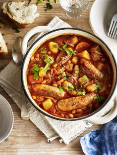 Warming, satisfying - try our hearty sausage and potato cassoulet for a tasty evening meal. Sausage Recipes, Pork Recipes, Casserole Recipes, Slow Cooker Recipes, Cooking Recipes, Healthy Recipes, Pork Casserole, Cooking Tips, Quick Potato Recipes