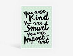 GREEN You Are Pintable Poster - Kids Wall Art, Lettering Typography, Girls Room, Kids Interior Decor, Kids Bedroom, Playroom, Nursery Print
