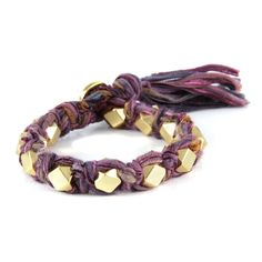 Multi Purple Vintage Ribbon Large Faceted Beads Knotted Bracelet  #boho #ettika #jewelry #accessories  #glam #vintage #sparkle #chic