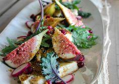 Pan-fried haloumi, fig & pomegranate